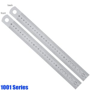 1001 Series Stainless Steel Rules, matt chromed, graduations on front and back