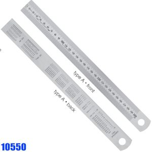 10550 Series Stainless Steel Rules, reading from left to right, type A-B-C