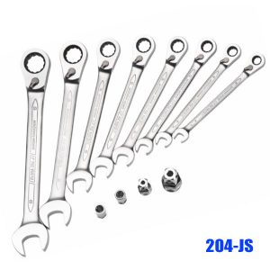 204-JS Series Set-combination spanner with ring ratchet, reversible
