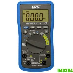 640384 Electr. Digital Multimeter,  with solar charger on top of instrument