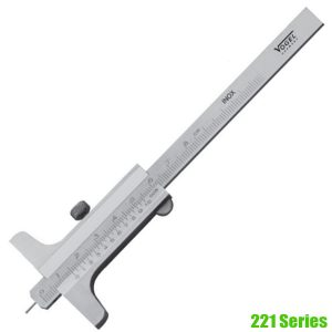 221 Series Depth Caliper DIN 862, mono block vernier, reading 0.05 mm