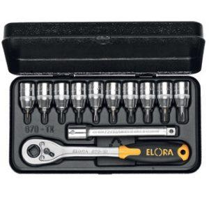 """870TXU Series Socket set 3/8"""", 12 pcs ELORA Germany"""