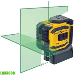 LAX 300 G cross line plus plumb point laser. Measuring range visible line 30 m