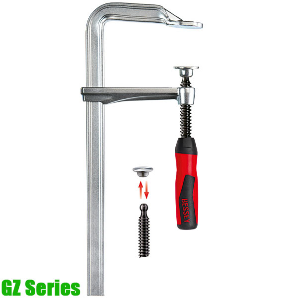 Original BESSEY all-steel screw clamp GZ with 2-component plastic handle
