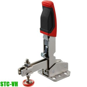 STC‑VH Vertical toggle clamp with open arm and horizontal base plate