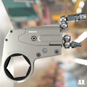 AX hydraulic torque wrench, low profile tightening or loosening heavy bolt